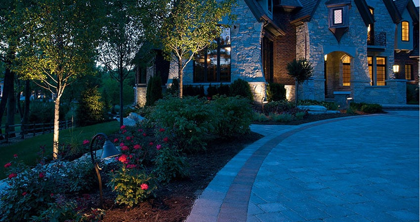 Landscape lighting on yard and house